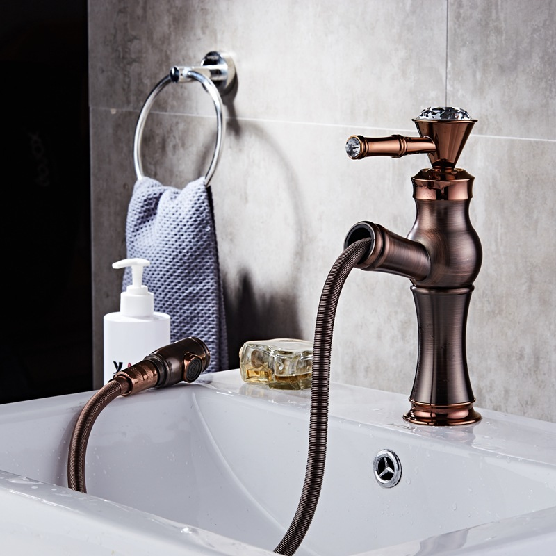 Bathroom Faucets Oil rubbed Bronze Fashion Pull Out Faucet Brass Bath Basin Mixer Tap Hot and Cold Water Tap Sink Crane fashion design goose neck brass robinet bathroom basin tap faucet