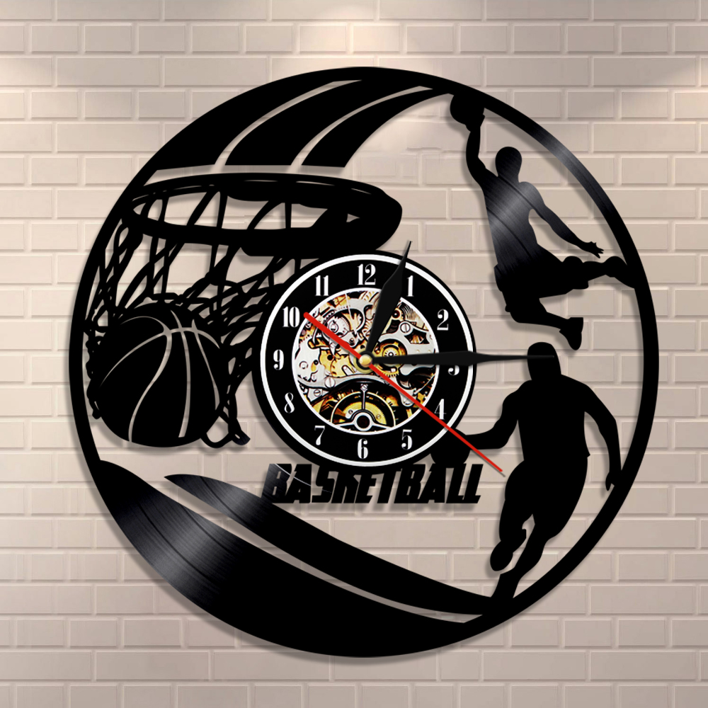 1Piece Playing Basketball Vinyl Record Wall Mounted Clock Personalized Nice Home Decor Art Clock Handmade Gift