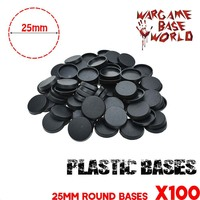 게임 미니어처 및 테이블 게임을위한 25mm 원형 플라스틱베이스 100pcs