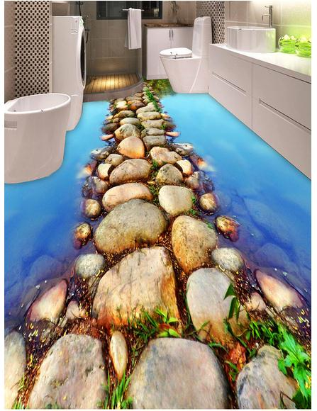 Papier peint photo personnalisé 3d revêtement de sol mural pvc papier peint la rivière chemin de pierre 3d salle de bain peinture papier peint décor à la maison