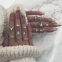 Hot Sale Vintage Crystal Alloy Women Finger Ring Set Bohemian Gold Color Crown Rings Ladies Girls Bijoux Jewelry Accessories a suit of hot sale solid color women s alloy knuckle rings