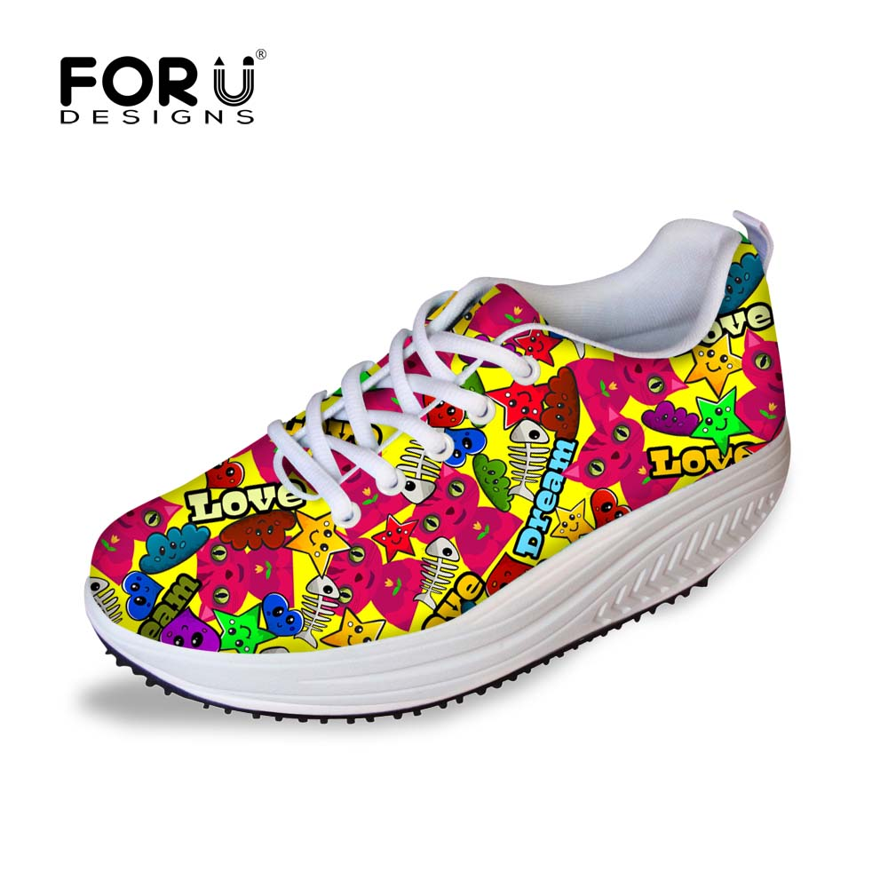FORUDESIGNS Autumn Women Slimming Swing Shoes Cute Cartoon Cat Pattern Flat Platform Shoes for Ladies Casual Lace-up Shoes Mujer instantarts women flats emoji face smile pattern summer air mesh beach flat shoes for youth girls mujer casual light sneakers