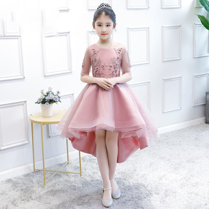 Girl Dress Kids Mesh Lace Noble Swan Embroidered Flower Princess Party Gown
