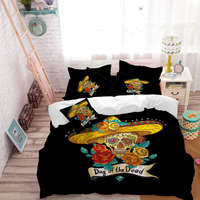 Golden Sugar Skull Bedding Set Flowers Straw Hat Duvet Cover King Queen Bed Sheet Pillow Case Day of the Dead Bedclothes D45