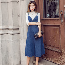 HziriP 2018 New Arrival Women Denim Dress Fashion Casual Ankle-Length desses for Ladies Spaghetti Strap Bodycon Vestido Female