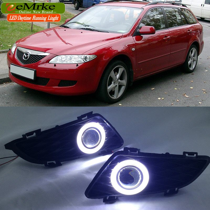 цена на eeMrke LED Angel Eye DRL FOR Mazda 6 2003-2008 Daytime Running Lights H11 55W Halogen Fog Light Lamp Kits