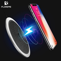 Qi Wireless Charger 10W FLOVEME Leather LED Fast Wireless Charging For IPhone X 8 Plus For