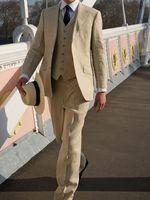 2017 последние конструкции пальто брюки бежевый льняной мужской костюм летние пляжные Slim Fit 3 предмета смокинг жениха пользовательские Блейз