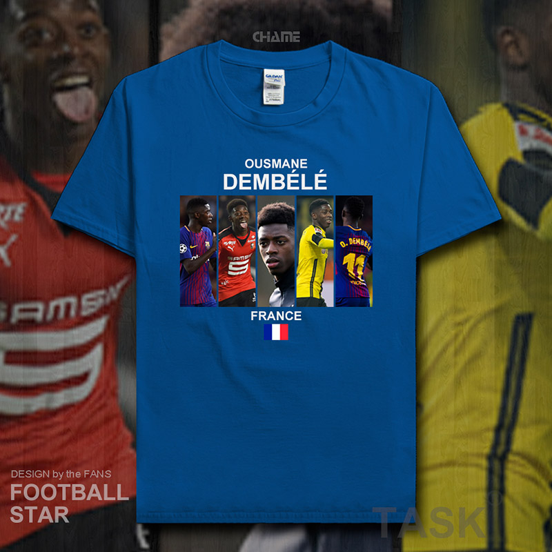 new arrival 7fccd c8048 US $5.99  Ousmane Dembele t shirt 2018 jerseys France Barcelona footballer  star tshirt 100% cotton fitness t shirt clothes summer tees 20-in T-Shirts  ...