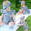 Meninas do bebê Verão Macacão de Manga Comprida Casual Solto Bonito Polka Dot Impressão Ruffles Estilo Macacão Roupa Do Bebê Headband 2 PCS Macacão