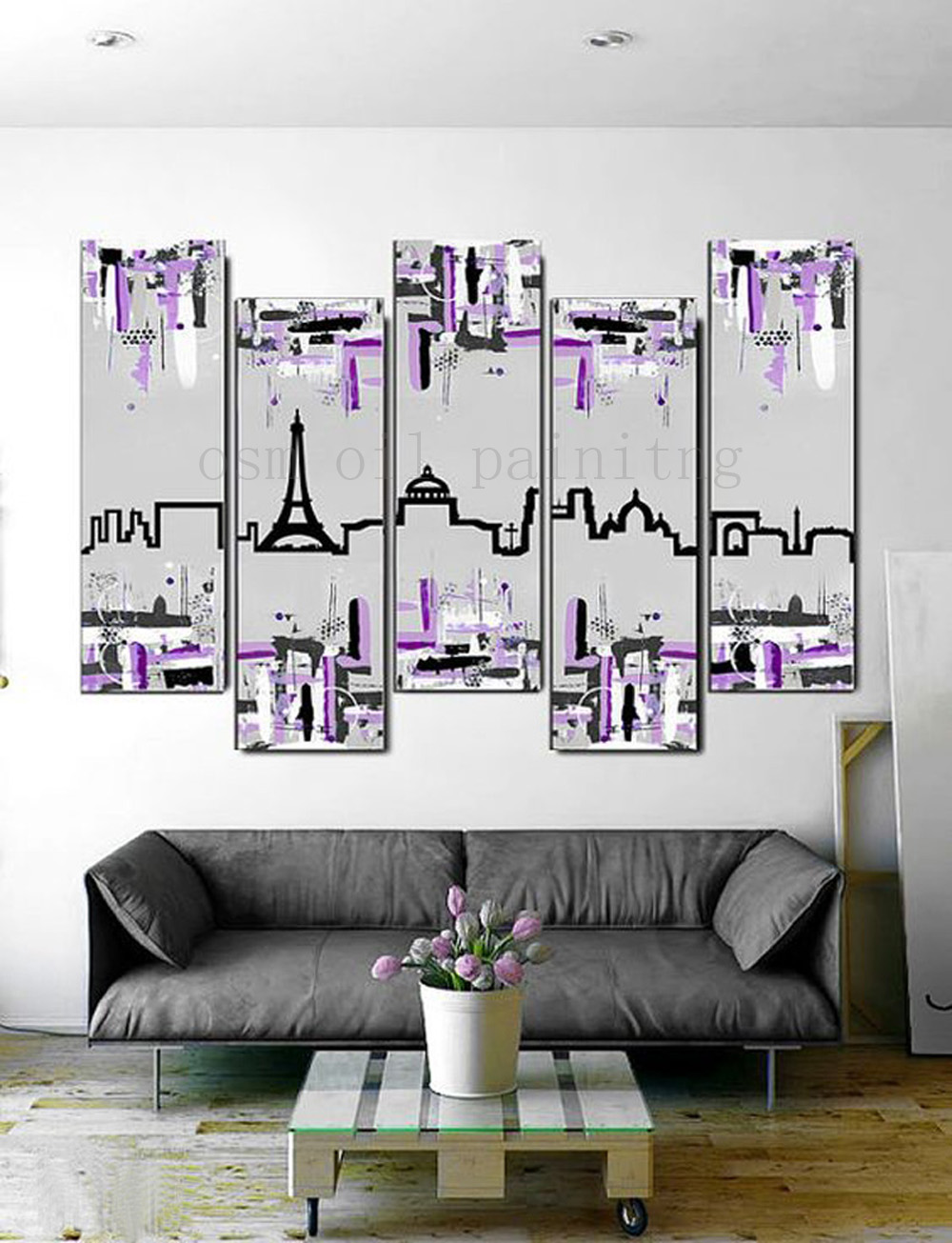 Handmade Paris Skyline Painting Piece Canvas Art Modern Wall Artwork with Gray and Purple Large Abstract Oil Painting of Paris