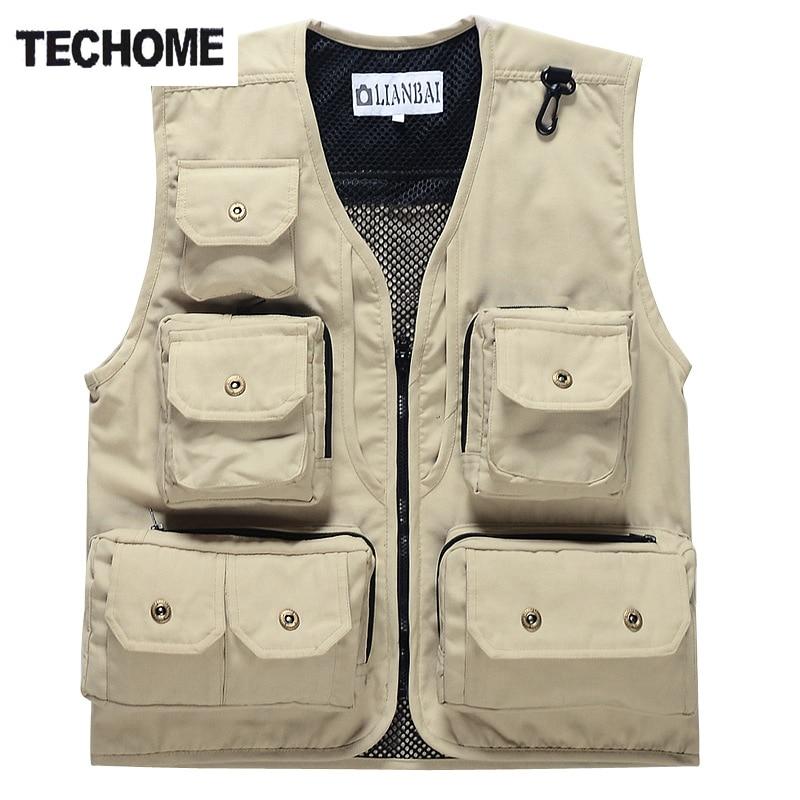 2016 New Summer Mesh Vest Multi-pocket Out-door Vest Photography Vest Working Waistcoat men vest Plus size M-XXXL free shipping