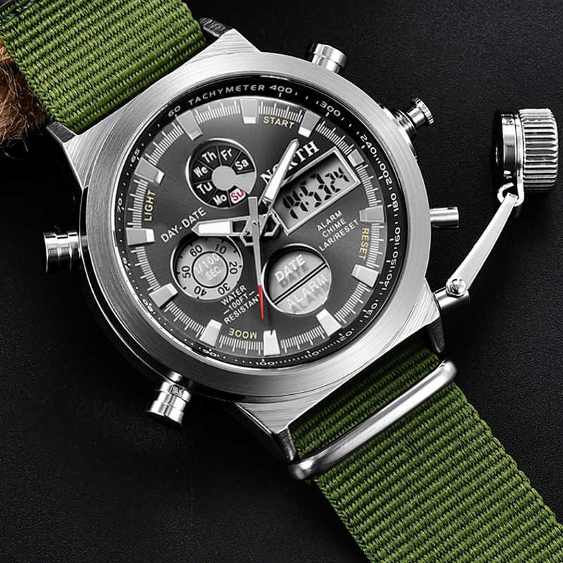 Fashion Brand Men Watches Nylon Strap Quartz Digital Analog Watch Men Military Sport LED Electronic Wrist Watch for Husband 2019