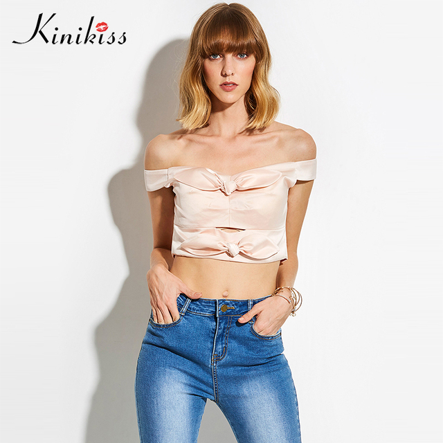448ff43a23e3a8 Kinikiss Bow Crop Tops Women Pink Satin Sexy Backless Off Shoulder Blouse  Shirts Summer Zipper Bowknot