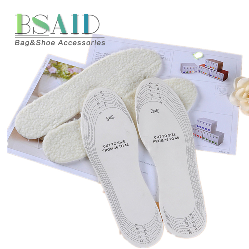 BSAID 1 Pair Insoles Heated Insole, Wool Warm High Quality Thermal Thickened Soft Shoes Pad For Men Women, DIY Cut Size 36-46 bsaid height increasing fur insoles diy cut winter keep warm thick breathable soft wool shoe insole men women height increase