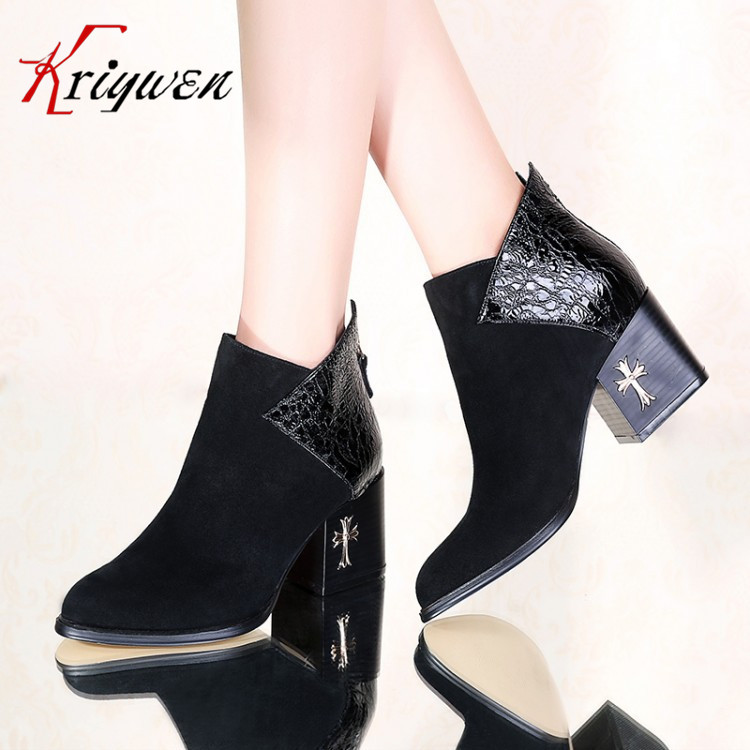 ФОТО 2016 autumn winter women's shoes high quality Genuine Leather ankle boots cool black high heels Pointed toe keep fashion martin