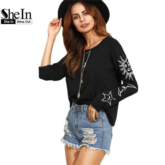 SheIn, T camisa de Las Mujeres 2016 Otoño Ropa Casual T-shirt Tops Negro Sol y La Luna de Impresión Cuello Redondo de Manga Larga T-Shirt