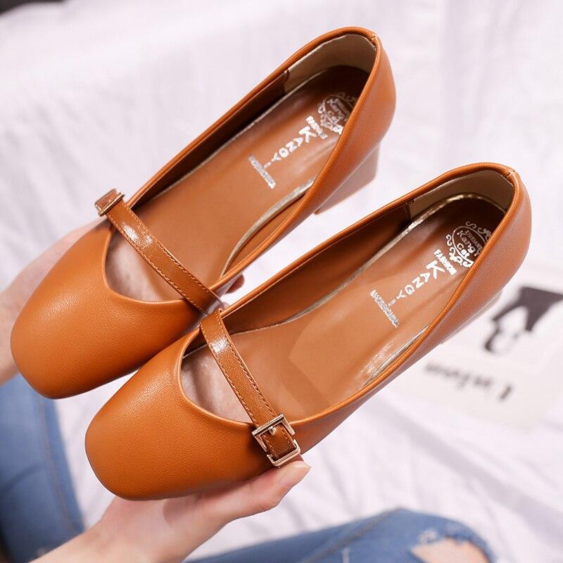 Mujeres Bombas Talones Zapatos Mujer Eleganet Grueso Talón Casual - Zapatos de mujer - foto 4