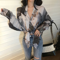 Ladies Shirts Korean Fashion Clothing 2018 Winter New Long Sleeve Shirt Loose Casual V Neck Print Blouse Sexy Lace Up Blouses