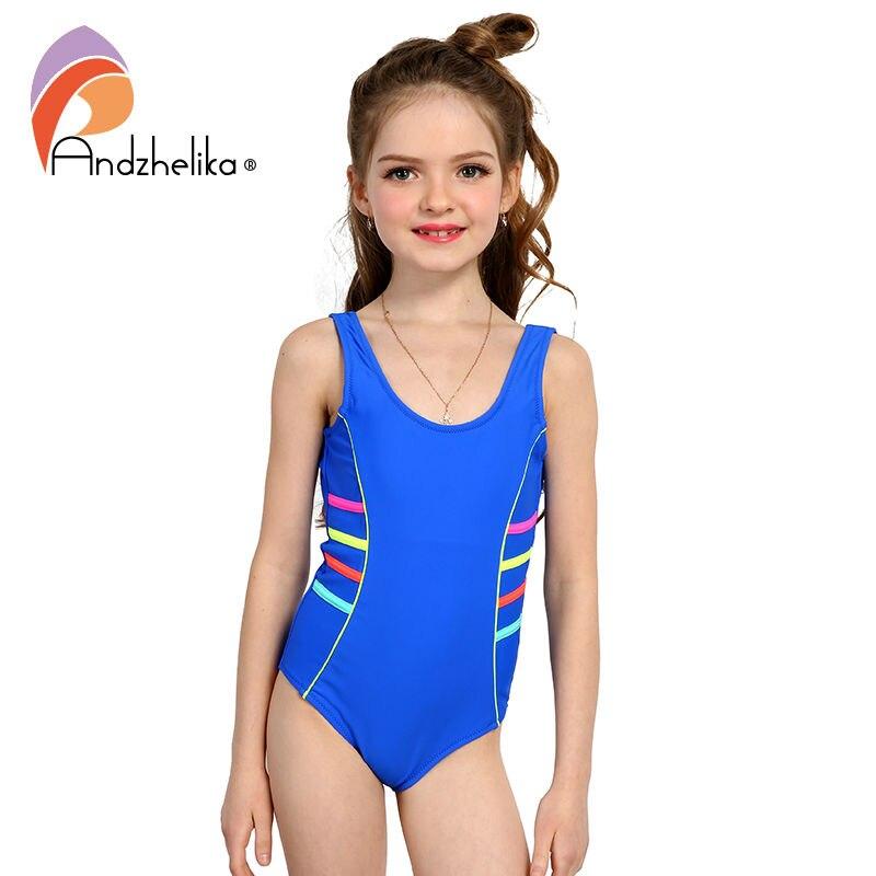 c3f6c485f031b Andzhelika 2017 Girls Sports Swimsuit One-piece Swimwear Patchwork Solid  multicolour Bodysuit Suit Girls Swimwear