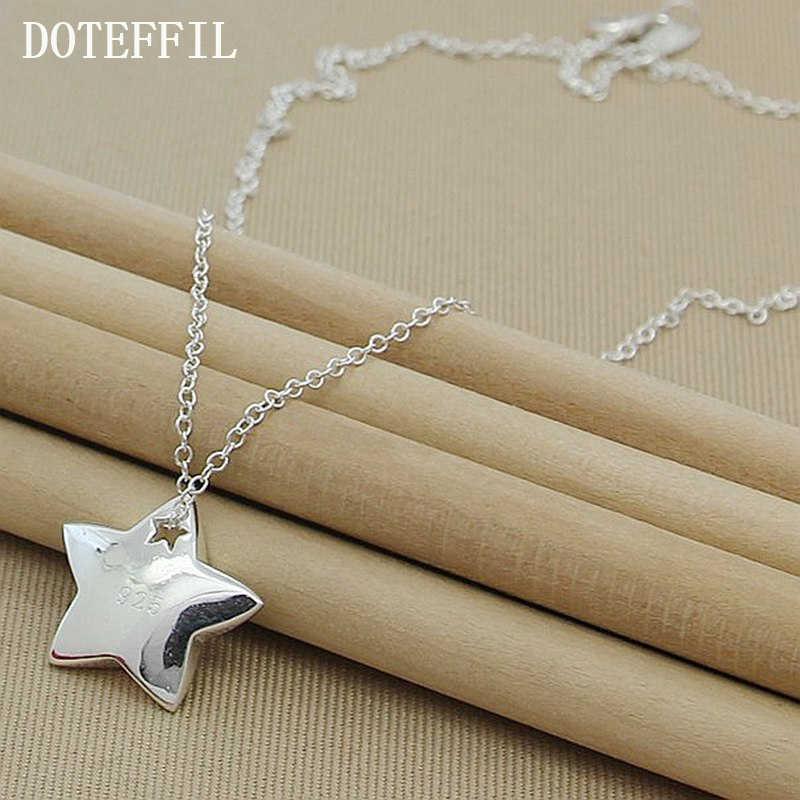 Натуральная 925 Sterling Silver Star кулон Цепочки и ожерелья I Love You To The Moon и сзади Модные украшения Цепочки и ожерелья для Для женщин N286