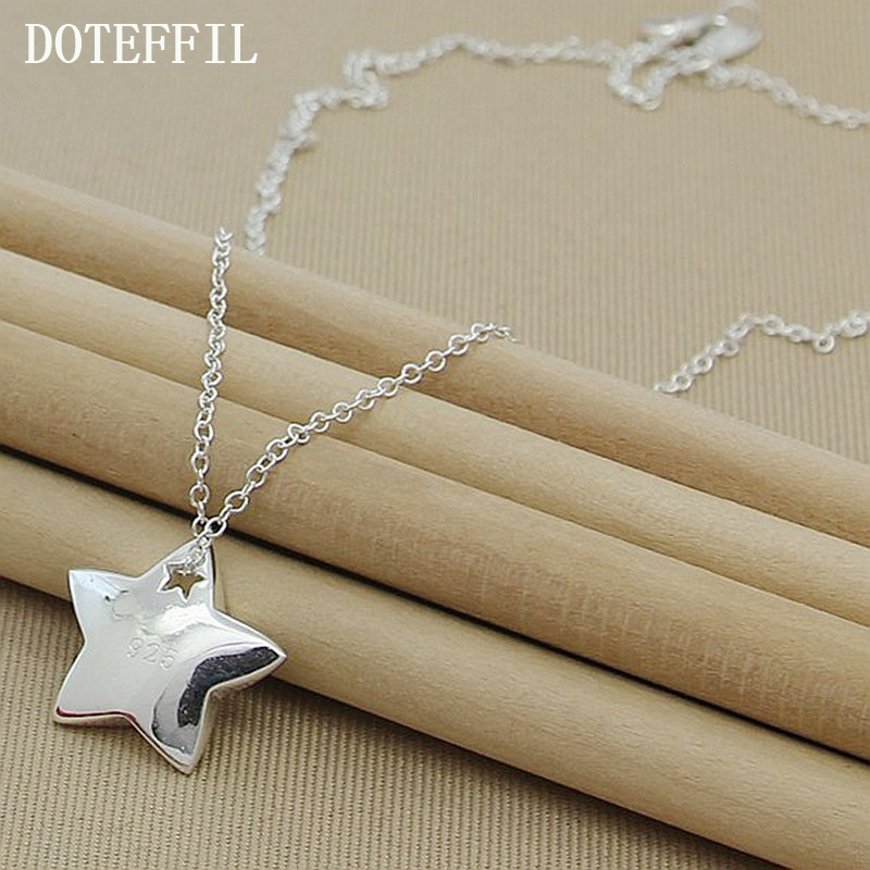 Genuine 925 Sterling Silver Star Pendant Necklace I Love You To The Moon And Back Fashion Jewelry Necklace For Women N286 retro style moon star sun layered necklace set for women