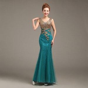 Image 2 - Robe de soiree 2020 V Neck Beaded Long with Appliques gowns Mermaid Evening Dresses vestido de festa prom dresses party dresses