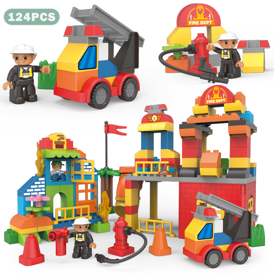 Diy Big Size City Fire Department Firemen Engineering Building Blocks Sets Compatible Legoings Duploe Hobbies Toys For Baby Kids