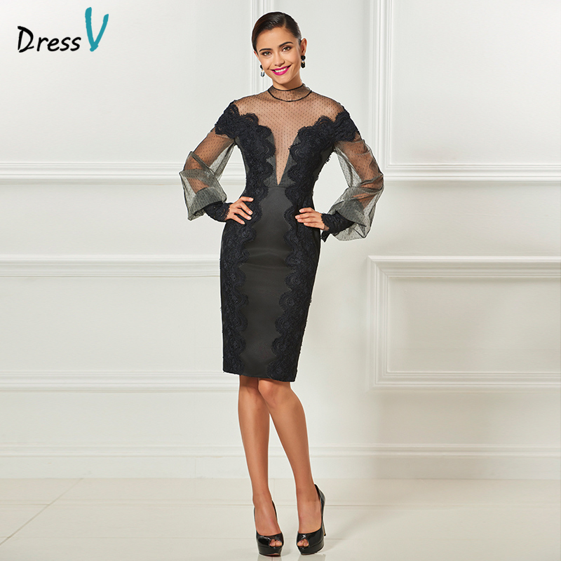 Dressv Black Long Sleeves Cocktail Elegant Appliques Sheath Knee Length Wedding Party Formal Dress Tulle Cocktail Dresses