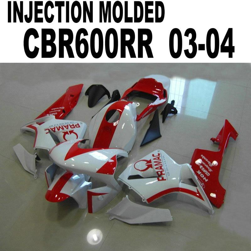 Injection Fairings full body for Honda CBR600 2004 2003 03 / 04 ( White+red) Fairing kit cbr600 lI57 injection molded fairing kit for honda cbr600rr 03 04 cbr600 cbr600rr f5 2003 2004 red orange black fairings set zq24