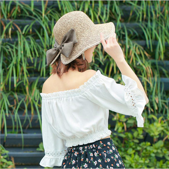 Women's Sun Hat Big Bow Wide Brim Floppy Summer Hats For Women 1