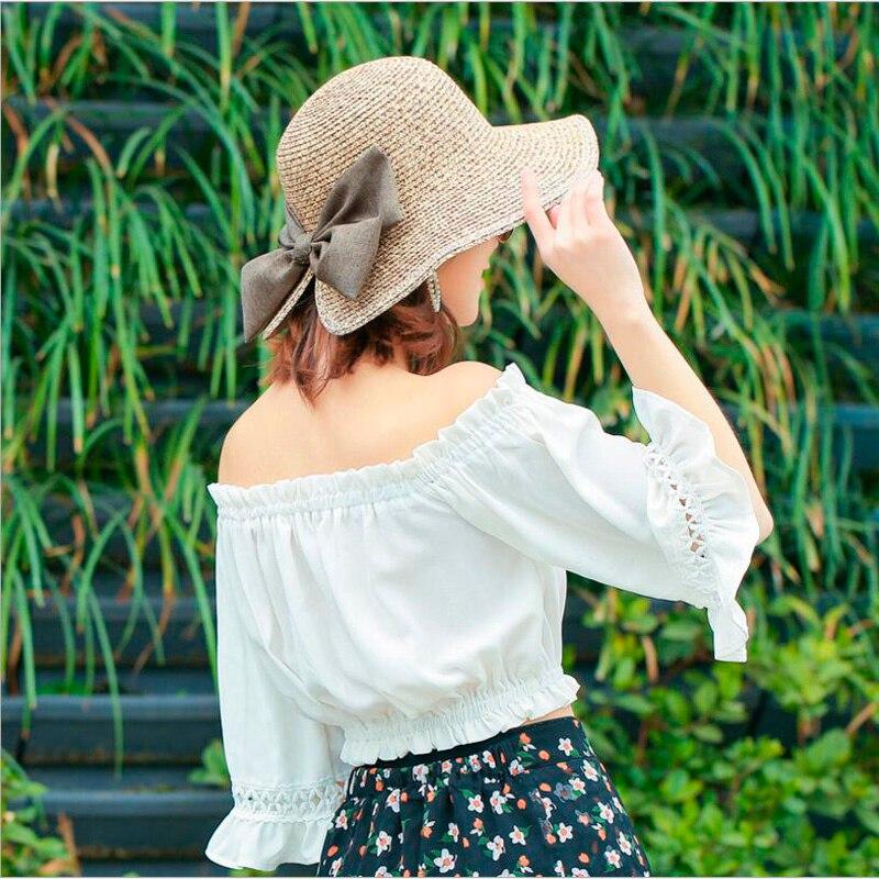 7a924a4f6ce Women s Sun Hat Big Bow Wide Brim Floppy Summer Hats For Women Beach .