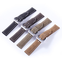 Wholesale 18mm 20mm 22mm 24mm Vintage Genuine Leather Strap Bracelet Retro Watch Band With Stainless Steel