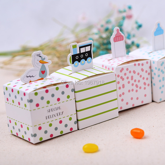100pcs Baby Shower Favors paper Candy Box Baby Shower Baptism