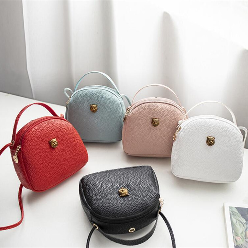 M584 Fashion Women Shoulder Bag Leopard Head Pendant Simple Circular Handbag