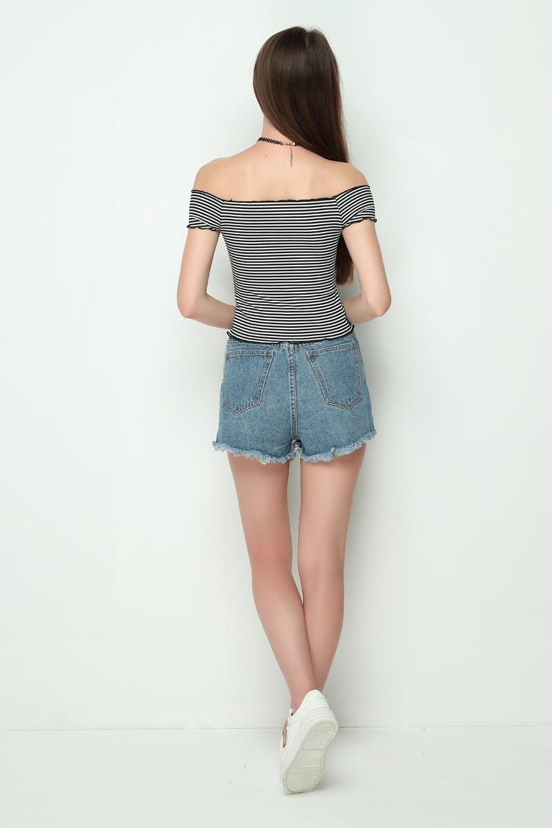 HTB1CkxuRVXXXXX0apXXq6xXFXXXE - Striped Knitted Off Shoulder Slash Neck Short Sleeve T Shirt PTC 27