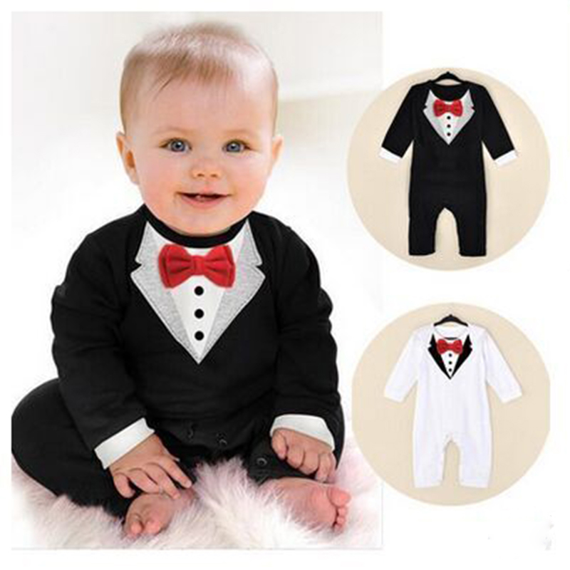 Baby Boy Romper Infant Toddle baby Suit Little Gentleman Clothing with bow tie Baby Jumpsuit bebe Kids Clothing Jumpsuits cute kids baby girls embroidered my little black letter bow bodysuit jumpsuits