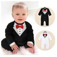 Baby Boy Romper Toddle Infantil Terno do bebê Cavalheiro Roupas com arco laço Do Bebê Macacão Crianças Macacões Roupas de bebe