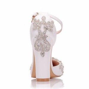 Image 2 - Crystal Queen White 11CM Rhinestone Sandals Pointed Shoes Women Sweet Luxury Platform Wedges Shoes Wedding heels High Heels