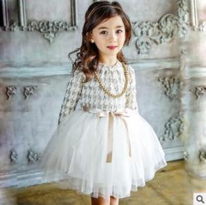 Image 3 - Dziewczynek ClothesKids małych dzieci dziewczyny dzieci z długim rękawem grubsze gaza tiul sukienka sukienka 2 kolory ubrania dla dzieci 5 zestawów/partia