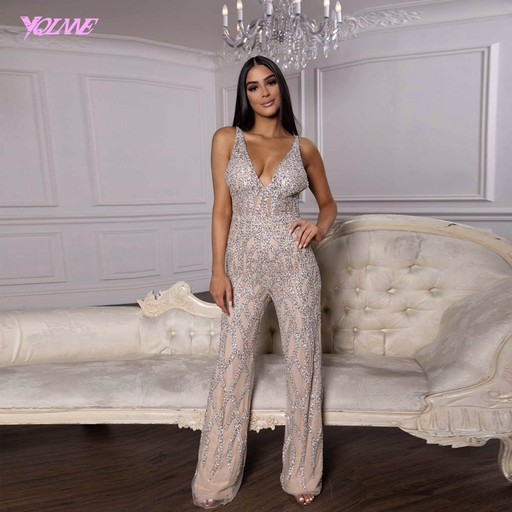 Sexy Silver Nude Crystals Jumpsuit Evening Dress Long Sleeveless V-Neck Evening Gowns