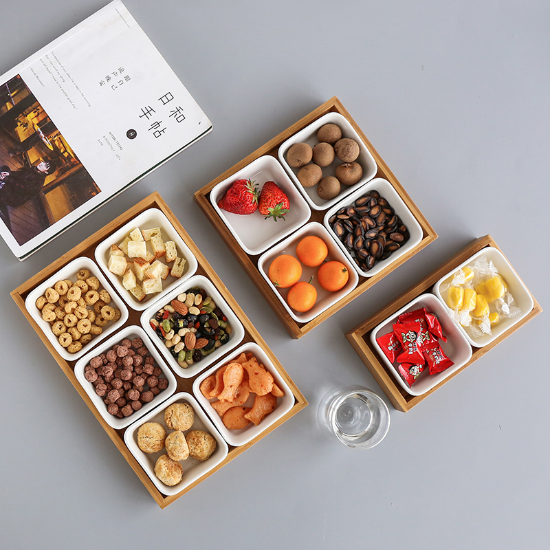 Japan Style Bamboo Storage Trays with Slots for Nuts/Snacks/Candies Ceramic Dish Plates Coffee Table Storage Box Home Decor coffee table