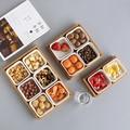 Japan Stil Bambus Lagerung Trays mit Slots für Muttern/Snacks/Süßigkeiten Keramik Dish Platten Kaffee Tisch Lagerung Box wohnkultur Ablagen    -