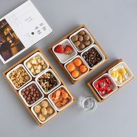 Japan Style Bamboo Storage Trays with Slots for Nuts/Snacks/Candies Ceramic Dish Plates Coffee Table Storage Box Home Decor
