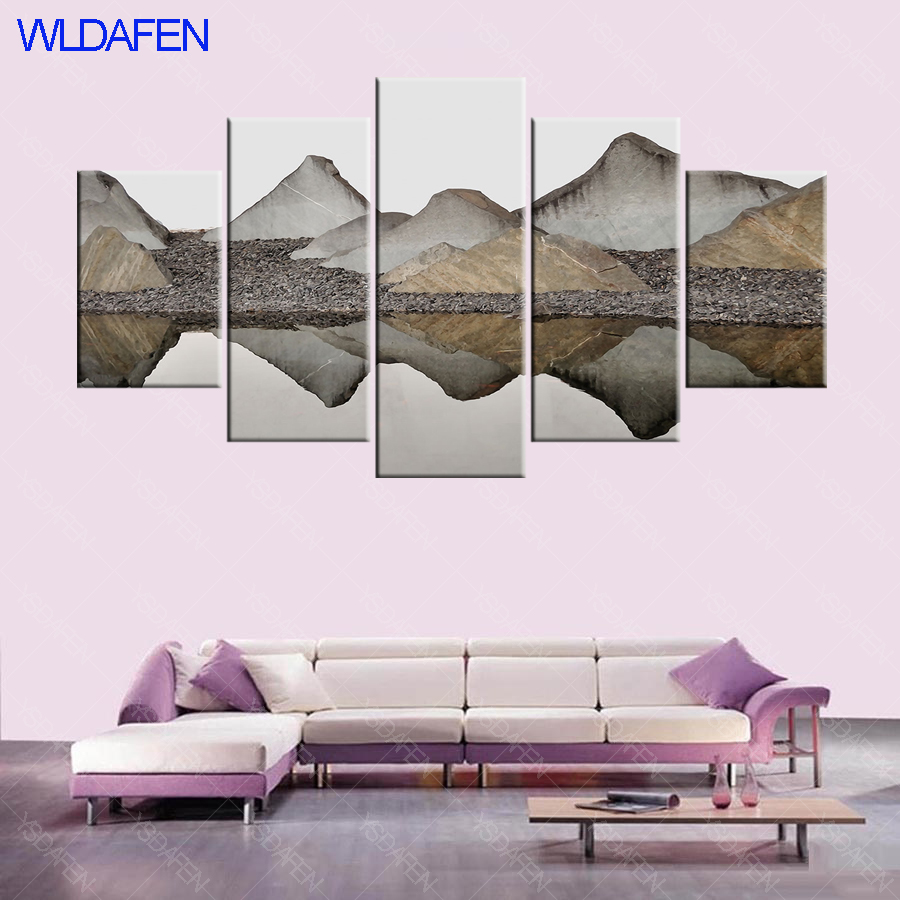Hd print chinese painting mountain and river abstract landscape canvas painting 5 pieces wall art living room murals