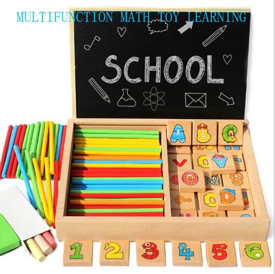 Nouveauté en bois jouet mathématique alphabet numérique boîte d'apprentissage avec planche à dessin et bâton de jeu