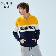 SEMIR Mens Color Block Hooded Sweatshirt Men's Print Pullover Hoodie Sport Sweatshirt with Drawstring Hood and Kangaroo Pocket