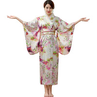Japanese Traditional Women Silk Rayon Kimono Vintage Yukata With Obi Performance Dance Dress Halloween Costume One Size HL06