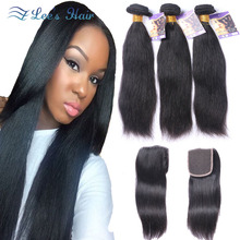 8A Stema Hair Peruvian Virgin Human Hair Straight With Closure 3 Bundles Wonder Beauty Straight Hair With Lace Closures Free