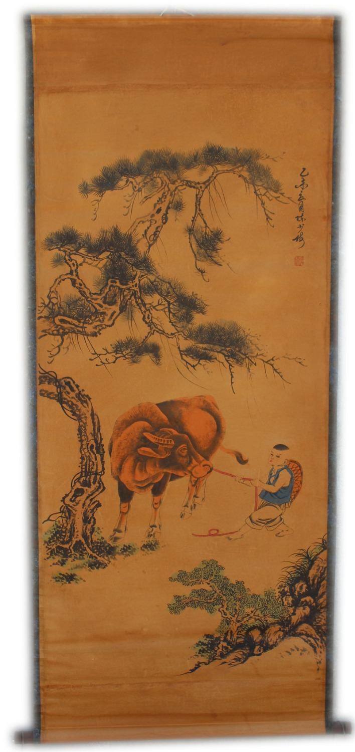 Rare Hand-painted QingDyansty Chinese vertical axis paintings,pasture cattle,hand drawn, free shippingRare Hand-painted QingDyansty Chinese vertical axis paintings,pasture cattle,hand drawn, free shipping